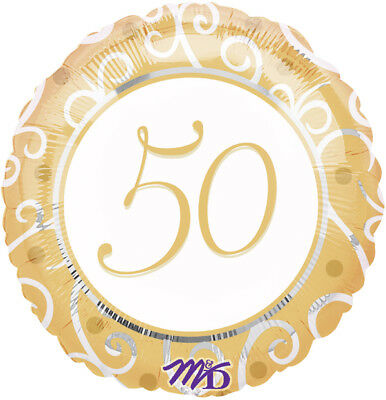 "18"" Elegant Gold & White  50th  Fifty Fiftieth Anniversary Birthday Party Mylar"