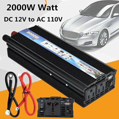 2000W USB Solar Power Inverter DC 12V-AC 110V Converter Charger for Car Truck QQ