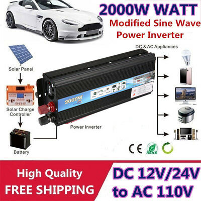 2000W Car Solar Power Inverter DC12V/24V - AC 110V USB Modified Converter QQ