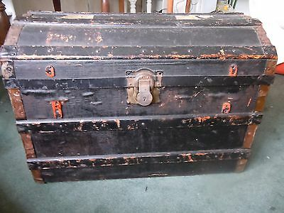 Lovely Antique Domed Wooden Chest.