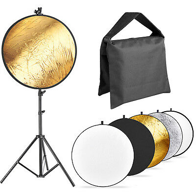"""Neewer 43"""" 5-in-1 Foldable Photo Light Reflector Panel with 1.9m Light Stand Kit"""