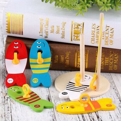 8pcs Wooden Montessori Fishing Digital Column Kids Child Early Learning Toy BS