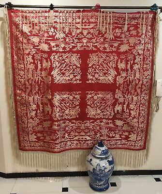 """Antique Chinese Brocade Pure Silk Piano Shawl Red 64"""" By 64"""" Fringe 9"""""""