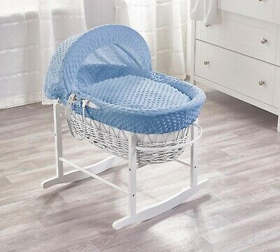 Blue Dimple White Wicker Moses Basket on Deluxe White Rocking Stand