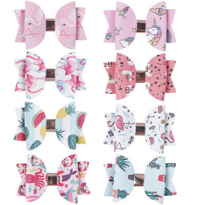 3 Inch Cute Unicorn Printed Hair Bow for Girls Double Layers Glitter Hairgrips