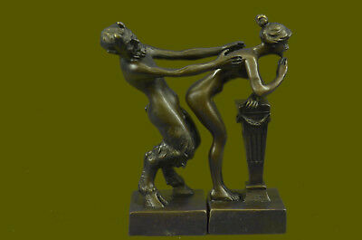 Vintage Bronze Sculpture/Statue of Satyr with Nymph Art Deco Erotic Figurine 2pc