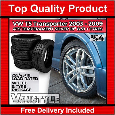 VW T5 2003-09 ATS TEMPERAMENT 18x8.5 ROYAL SILVER LOAD RATED ALLOY WHEEL & TYRE