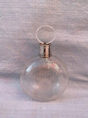 Antique Silver Necked Globe Glass Etched Perfume Bottle