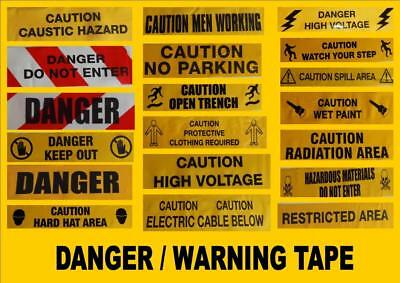 YELLOW WARNING TAPE chevron CAUTION safety scene joke prank sign x5 or 10 METRES