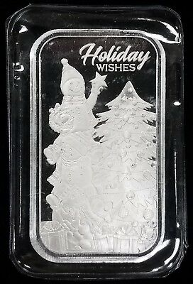 """2018 """"Holiday Wishes"""" One Troy Ounce, 0.999 Fine Silver Bar!"""
