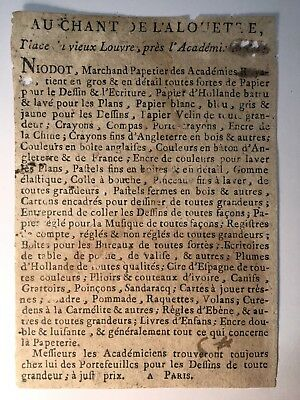 FRENCH STATIONER'S LABEL FROM THE 18th CENTURY
