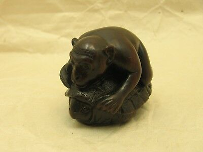 Vintage Japanese Rosewood Monkey and Tortoise Netsuke