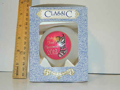 2013 Girls Baby's First CHRISTMAS Tree Glass Ornament Pink Classic 3 1/4 w Box