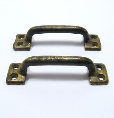 "2 Vintage 4"" Sash Lift Cast Iron Cabinet Door Pull Handle Drawer Metal Pair"