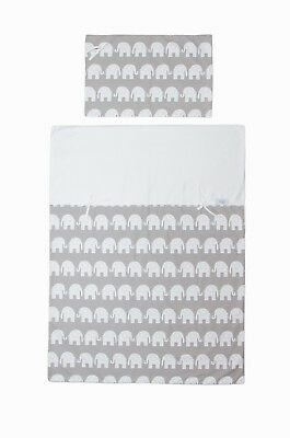 Duvet and Pillow Case Baby Bedding Set. Cot/Cot Bed. Grey with White Elephants