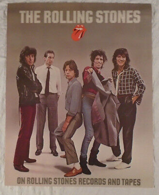 Rolling Stones 1975 Promo Poster Keith Richards Mick Jagger Ron Wood Bill Wyman