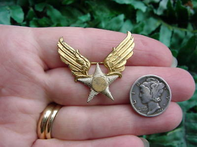Vintage Sterling silver vermeil USAAF - ARMY AIR FORCE - winged star - PIN BADGE