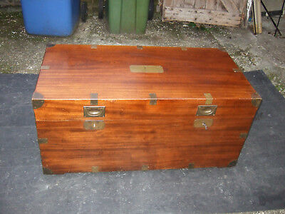 Military style brass bound wooden trunk/chest