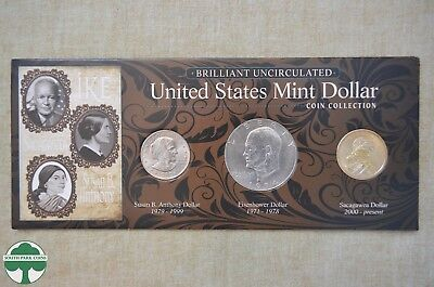 Brilliant Uncirculated United States Mint Dollar Coin Collection - 3 Coin Set