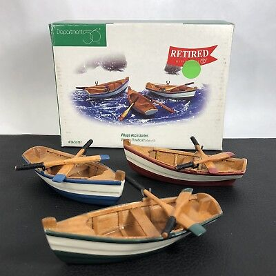 Dept 56 Village Wooden Rowboats Wood Boat Accessory