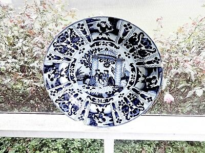 "Antique Early 1700's Delft Blue Large 16"" Bowl,asian Chinese Japanese Scenery"