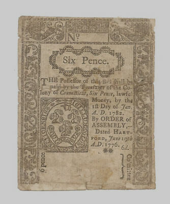 1776 Unsigned Connecticut 6 Six Pence Colonial Minor Edge Tears Note