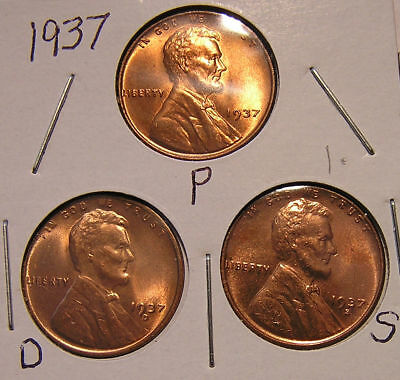 1937 P D S  1938 P D S 1939 P D S  9  RED BU UNCIRCULATED Lincoln Wheat Cent
