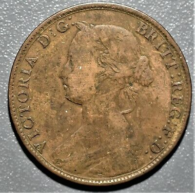 1861 1/2 HALF PENNY BRITAIN UK BRONZE Victoria KM 748 Gr: VF+  A7960