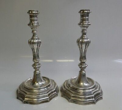 Antique Late 19th Century Continental Silver Pair Of NonWeighted Candle Holders