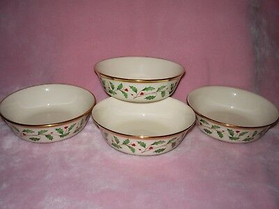 4 Lenox Holiday Christmas Soup Bowls - Holly & Berries