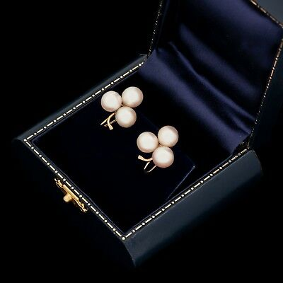Antique Vintage Deco 14k Gold 8.25 mm Saltwater South Sea Pearl Clover Earrings