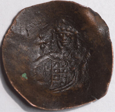 LATIN RULERS OF CONSTANTINOPLE, BILLON TRACHY, S-2055, 24mm & F-EF