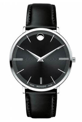 Movado Ultra Slim Black Sunray Dial 40MM Black Leather Men's Watch 0607086