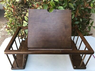 Vintage Solid Wood Bed Tray Laptop Table Food Stand Holder Tilting Book Racks