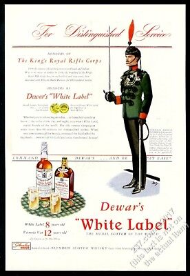 1941 King's Royal Rifle Corps soldier art Dewar's Scotch whisky vintage print ad