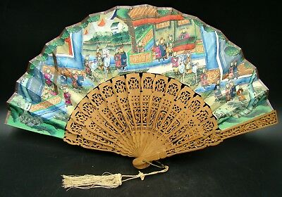 Antique Chinese Mandarin 1000 Faces Hand Painted and Sandalwood Fan with Case
