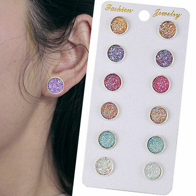 Classic Chic 6 Pairs Stainless Shiny Austrian Crystal Round Stud Earrings Kit