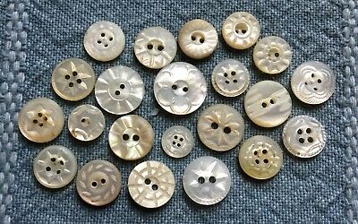 22 Antique Vtg Diminutive MOP Buttons - White Carved - Pearl Shell - Old Lot