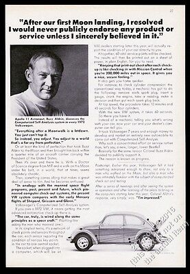 1972 VW Volkswagen Beetle classic bug car & Buzz Aldrin photo vintage print ad