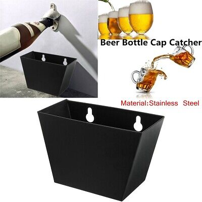 Kitchen Bar Wall Mount Beer Soda Bottle Cap Catcher Storage Box Case + Screws