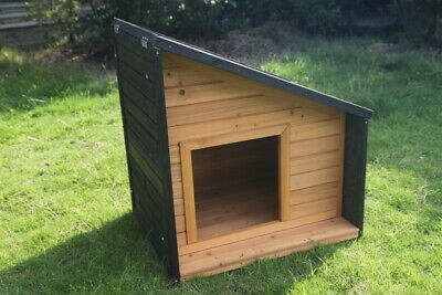 Wooden Pet Dog Kennel Timber Cabin Small Animal House Wood Log Box