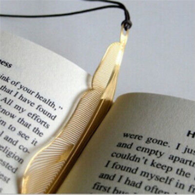 Copper Feather Shape Book Mark Bookmark Metal Paper Stationery School Gift BS