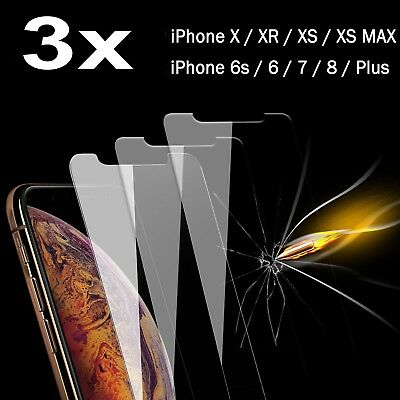 3x Premium Tempered Glass Screen Protector Fr iPhone XS MAX XR X 8 7 5 6 6s Plus