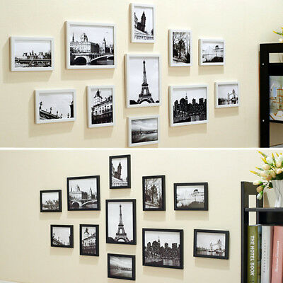 11 Pcs Wall Hanging Wooden Photo Frame Set Black Picture Home Display Morden Art