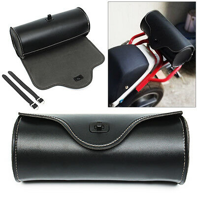 Motorcycle Barrel Saddle Bag PU Leather Front Rear Luggage Metal Tool Bags US