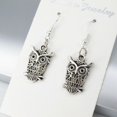 925 Sterling Silver Hooks Vintage Silver Alloy Gothic Wizard Of Owl Earrings