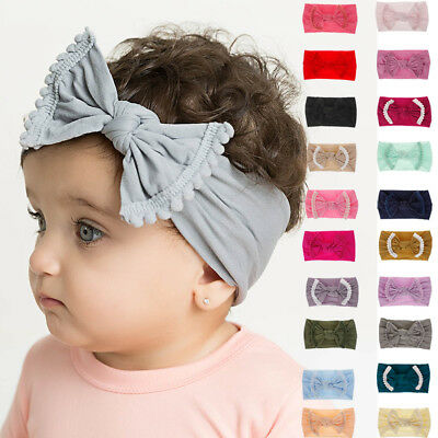 Soft Baby/ Girls Kids Toddler Bow Hairband Headband Turban Big Knot Head-Wrap MM