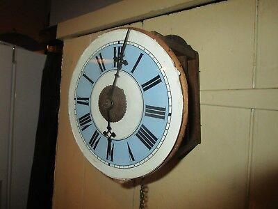Antique Victorian Postman's Wall Clock with Blue and white Glass dial.