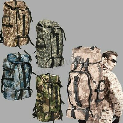80L Mens Outdoor Military Tactical Backpack Rucksack Camping Hiking Trekking Bag