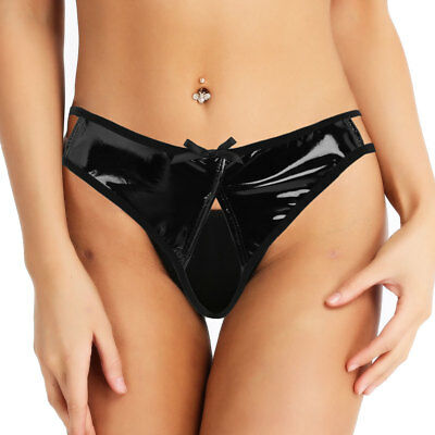 Damen Leder-Optik Ouvertslip Unterwäsche Low Rise Mini Bikini Slips Sexy Schwarz